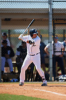 Detroit Tigers Martin Olivas (73) at bat during an Instructional League game against the Philadelphia Phillies on September 19, 2019 at Tigertown in Lakeland, Florida.  (Mike Janes/Four Seam Images)