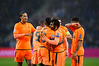 Liverpool's Sadio Mane celebrates scoring his side's first goal with team mate Mohamed Salah <br /> <br /> Photographer Craig Mercer/CameraSport<br /> <br /> UEFA Champions League Round of 16 First Leg - FC Porto v Liverpool - Wednesday 14th February 201 - Estadio do Dragao - Porto<br />  <br /> World Copyright &copy; 2018 CameraSport. All rights reserved. 43 Linden Ave. Countesthorpe. Leicester. England. LE8 5PG - Tel: +44 (0) 116 277 4147 - admin@camerasport.com - www.camerasport.com