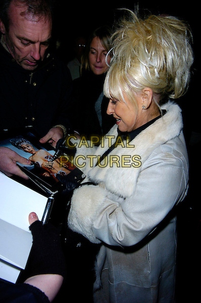 "BARBARA WINDSOR .""Guys & Dolls"" VIP Performance, Picadilly Theatre, London, UK..January 24th, 2007.half length fur lined white coat suede signing autograph fan profile .CAP/CAN.©Can Nguyen/Capital Pictures"