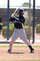 Denny Almonte #6 of the Seattle Mariners plays in a minor league spring training intrasquad game at the Mariners minor league complex on March 27, 2011  in Peoria, Arizona. .Photo by:  Bill Mitchell/Four Seam Images.