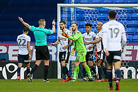 Bolton Wanderers' goalkeeper Ben Alnwick disagrees with referee Robert Jones on the award of a late corner to Fulham<br /> <br /> Photographer Andrew Kearns/CameraSport<br /> <br /> The EFL Sky Bet Championship - Bolton Wanderers v Fulham - Saturday 10th February 2018 - Macron Stadium - Bolton<br /> <br /> World Copyright &copy; 2018 CameraSport. All rights reserved. 43 Linden Ave. Countesthorpe. Leicester. England. LE8 5PG - Tel: +44 (0) 116 277 4147 - admin@camerasport.com - www.camerasport.com