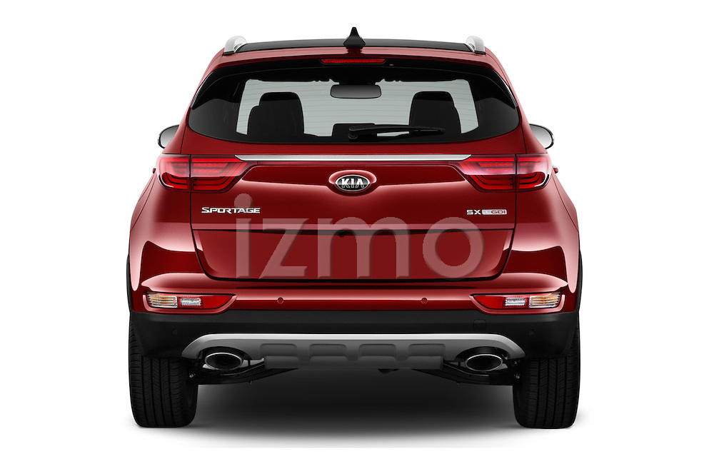 Straight rear view of 2017 KIA Sportage SXAWD 5 Door SUV Rear View  stock images