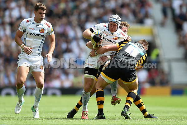 Thomas Waldrom of Exeter Chiefs takes on the Wasps defence. Aviva Premiership Final, between Wasps and Exeter Chiefs on May 27, 2017 at Twickenham Stadium in London, England. Photo by: Patrick Khachfe / JMP