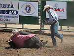 Danny Pacheco and Joel Kruger compete in the double mugging event at the Minden Ranch Rodeo in Gardnerville, Nev., on Sunday, July 22, 2012..Photo by Cathleen Allison