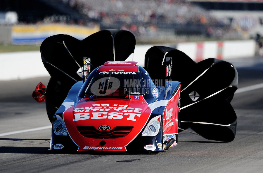 Sept. 4, 2010; Clermont, IN, USA; NHRA funny car driver Cruz Pedregon during qualifying for the U.S. Nationals at O'Reilly Raceway Park at Indianapolis. Mandatory Credit: Mark J. Rebilas-