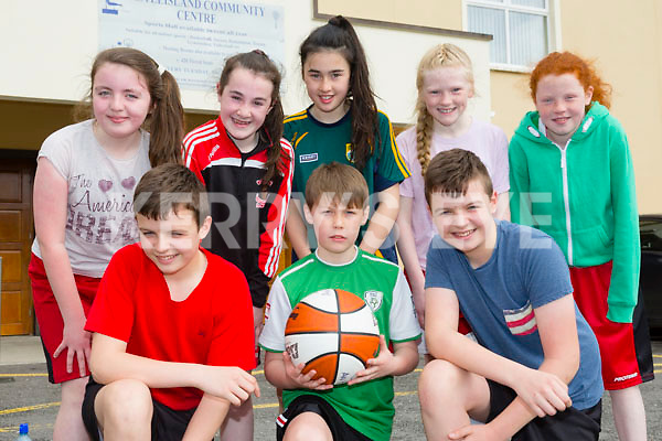 Kilmurry Cordal Wild Cats .Front l-r Keelan O'Donoghue, Ryan Dennehy and Taylor O'Donoghue. Back l-r Orla O'Donoghue, Aoife Walsh, Jane Lawlor, Ava Fitzmorris and Aoife Kerins. taking part in An Garda Síochána and Kerry Youth Service annual Basketball Blitz tournament at Castleisland Community Centre on Friday