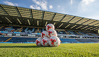 Accrington Stanley Mitre balls ahead of warm up during the Sky Bet League 2 match between Wycombe Wanderers and Accrington Stanley at Adams Park, High Wycombe, England on 16 August 2016. Photo by Andy Rowland.