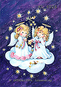 Interlitho, CHRISTMAS CHILDREN, WEIHNACHTEN KINDER, NAVIDAD NIÑOS, paintings+++++,2 angels,cloud,2 birds,KL6026,#xk#