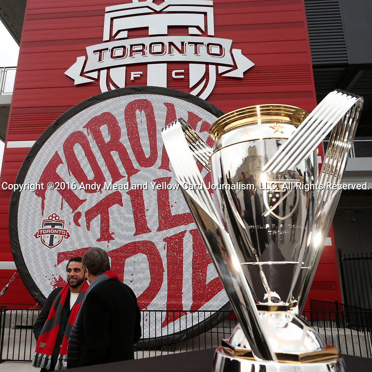 08 December 2016: Major League Soccer's Philip F. Anschutz Trophy made an appearance with Toronto's mayor at a press conference outside of BMO Field in Toronto, Ontario in Canada two days before MLS Cup 2016.