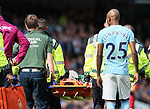 Ederson of Manchester City is stretchered off during the premier league match at the Etihad Stadium, Manchester. Picture date 9th September 2017. Picture credit should read: David Klein/Sportimage