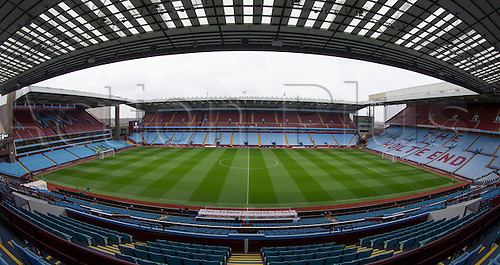 02.04.2016. Villa Park, Birmingham, England. Barclays Premier League. Aston Villa versus Chelsea.  Wide angle view of the pitch from the centre line and stands from the stands inside Villa Park, Home of Aston Villa FC.