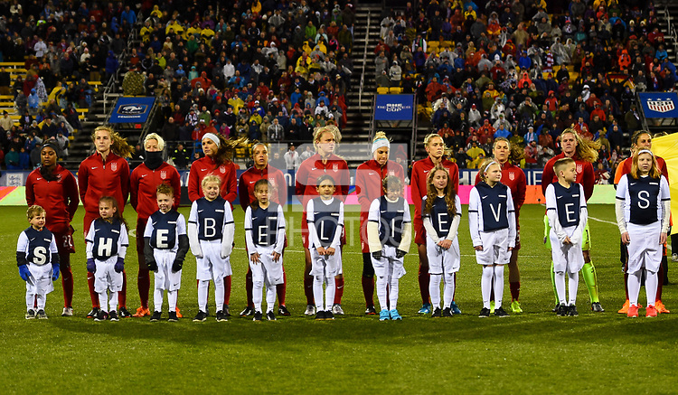 Columbus, Ohio - Thursday March 01, 2018: USWNT starting eleven during a 2018 SheBelieves Cup match between the women's national teams of the United States (USA) and Germany (GER) at MAPFRE Stadium.