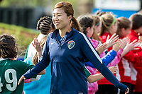 Boston, MA - Sunday May 07, 2017: Yuri Kawamura and fans prior to a regular season National Women's Soccer League (NWSL) match between the Boston Breakers and the North Carolina Courage at Jordan Field.