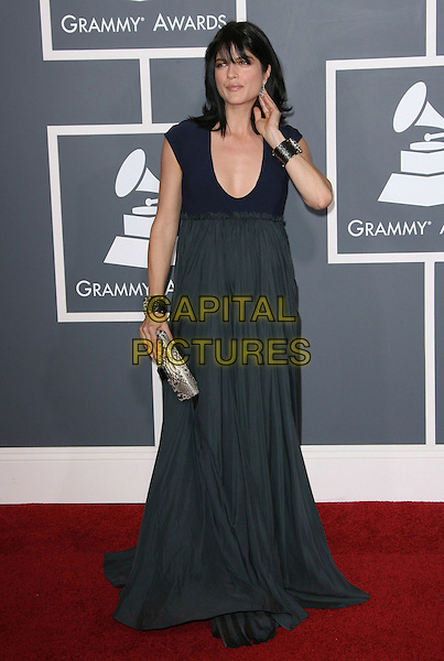 SELMA BLAIR.The 53rd Annual GRAMMY Awards held at the Staples Center, Los Angeles, California, USA..February 13th, 2011.arrivals grammys full length navy blue long maxi dress pregnant maternity pleated clutch bag cuff hand.CAP/ADM.©AdMedia/Capital Pictures.