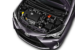 Car stock 2017 Toyota Yaris Y-conic 5 Door Hatchback engine high angle detail view