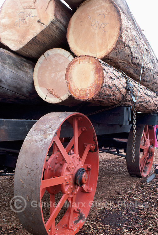 Historic Logging Trailer Wagon loaded with Logs