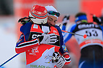 Martin Sundby and Finn Haagen Krogh congratulates each other during the 10 Km Individual Free race of Tour de ski as part of the FIS Cross Country Ski World Cup  in Dobbiaco, Toblach, on January 8, 2016. Finn Haagen Krogh wins the stage. Martin Johnsrud Sundby (2nd) remains leader. French Maurice Manificat is third. Credit: Pierre Teyssot