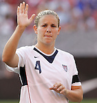 16 June 2007: United States defender Cat Whitehill, pregame. The United States Women's National Team defeated the Women's National Team of China 2-0 at Cleveland Browns Stadium in Cleveland, Ohio in an international friendly game.