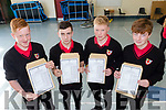 L-R James Bowler, Shane Deane, Jack Walsh and Oliver are all happy after getting their Junior Cert results on Wednesday Sept 12 at Mean Scoil Nua, Castlegregory.