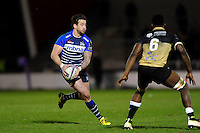 Danny Cipriani of Sale Sharks goes on the attack. European Rugby Challenge Cup quarter final, between Sale Sharks and Montpellier on April 8, 2016 at the AJ Bell Stadium in Manchester, England. Photo by: Patrick Khachfe / JMP