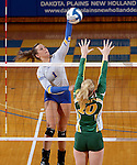 BROOKING, SD - NOVEMBER 13:  Ashley Beaner #1 from SDSU looks to get a kill past the defense of Hadley Steffen #10 from NDSU during their game Friday afternoon at Frost Arena in Brookings. (Photo by Dave Eggen/Inertia)