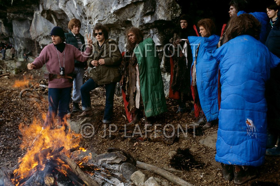 "Toronto area, Canada.1981. 80,000 years ago, the tribe who posessed fire, posessed life. A primitive tribe try to keep a natural fire source for survival.  This part of the movie was filmed in Canada.  ""Quest for Fire"" (La guerre du feu) by French director Jean-Jacques Annaud, and based on the novel of JH Rosny. Picture of Jean-Jacques Annaud directing."