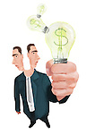 Illustrative image of joint businessmen holding light bulb representing partnership and idea