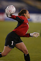 New York Power goalkeeper Saskia Webber clears a ball during the Power's home opener at Mitchell Atletic Complex on April 27. The Power lost to the Philadelphia Charge 2-1.
