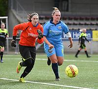 20190427 - Waregem , BELGIUM :  Tiffany Ryckewaert (L) and Ulrike Declerck (R)  pictured during the final of the Beker van West-Vlaanderen 2019 , a soccer women game between SV Bredene and Famkes Westhoek Diksmuide Merkem B  , in the  Mirakelstadion in Waregem , Satuday 27 th April 2019 . PHOTO SPORTPIX.BE | DIRK VUYLSTEKE