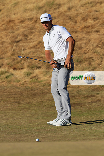 Dustin JOHNSON (USA) misses his putt to win on the 18th green during Sunday's Final Round of the 2015 U.S. Open 115th National Championship held at Chambers Bay, Seattle, Washington, USA. 6/22/2015.<br /> Picture: Golffile | Eoin Clarke<br /> <br /> <br /> <br /> <br /> All photo usage must carry mandatory copyright credit (&copy; Golffile | Eoin Clarke)