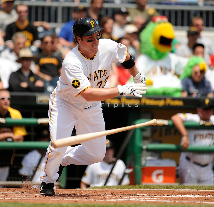 MATT DIAZ, of the Pittsburgh Pirates in action during the Pirates game against the Atlanta Braves, on May 25, 2011 at PNC Park in Pittsburgh, PA. The Braves beat the Pirates 4-2.