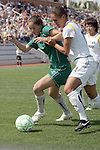 25 April 2009: Kerri Hanks (left) of Saint Louis Athletica tries to fend off Stephanie Cox (14) of the Los Angeles Sol.  Saint Louis Athletica tied the visiting Los Angeles Sol 0-0  in a regular season Women's Professional Soccer game at Robert R. Hermann Stadium at St. Louis University, St. Louis, Missouri.