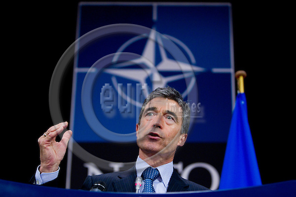BRUSSELS - BELGIUM - 07 JUNE 2010 -- Anders Fogh Rasmussen NATO Secretary General during a press briefing ahead of defence ministers meeting at NATO. PHOTO: ERIK LUNTANG / EUP-Images