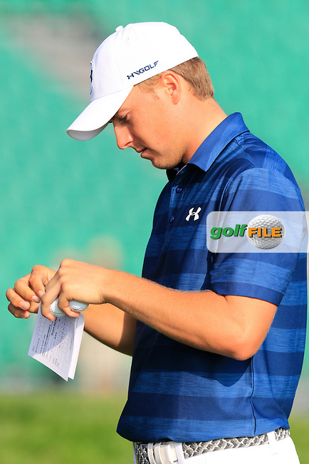 Jordan Spieth (USA) on the 10th tee to start his match during Thursday's Round 1 of the 2016 U.S. Open Championship held at Oakmont Country Club, Oakmont, Pittsburgh, Pennsylvania, United States of America. 16th June 2016.<br /> Picture: Eoin Clarke | Golffile<br /> <br /> <br /> All photos usage must carry mandatory copyright credit (&copy; Golffile | Eoin Clarke)