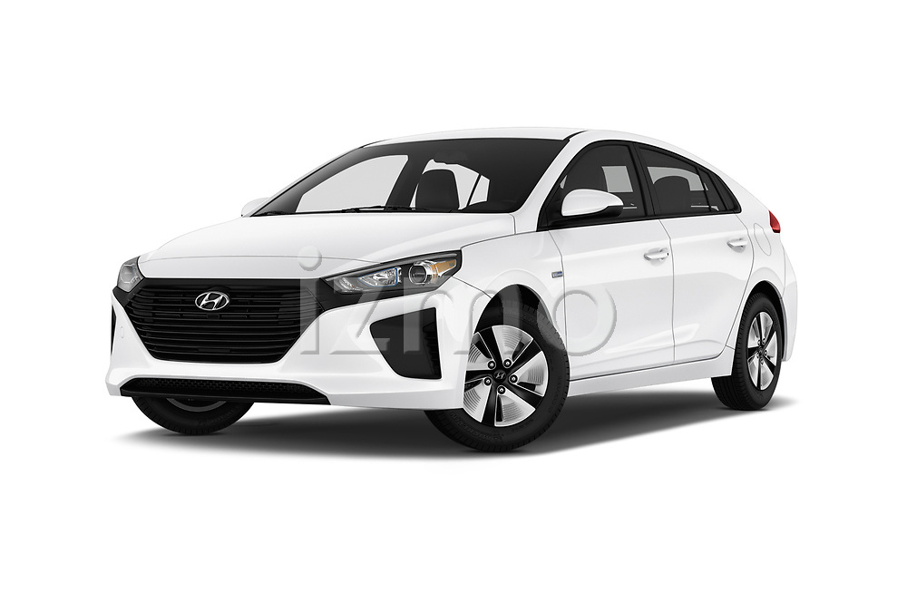 Stock pictures of low aggressive front three quarter view of a 2019 Hyundai Ioniq Hybrid Blue 5 Door Hatchback