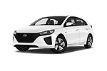 Stock pictures of low aggressive front three quarter view of a 2018 Hyundai Ioniq Hybrid Blue 5 Door Hatchback