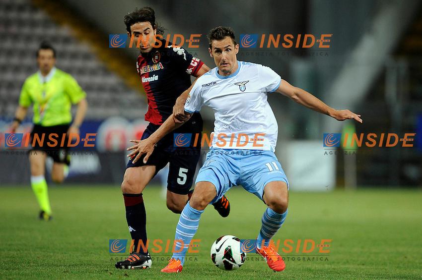 Daniele Conti Cagliari, Miroslav Klose Lazio .Trieste 19/5/2013 Stadio Nereo Rocco.Football Calcio 2012/2013 Serie A.Cagliari Vs Lazio .Foto Insidefoto
