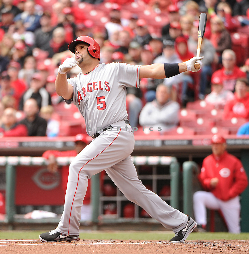 Los Angeles Angels Albert Pujols (5) in action during a game against the Cincinnati Reds on April 4, 2013 at Great American Ballpark in Cincinnati, OH. The Reds beat the Angels 5-4.