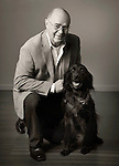 Portrait. Fred Gilmour with dog.