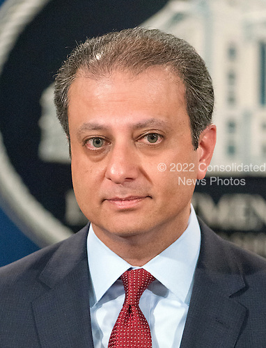 United States Attorney Preet Bharara of the Southern District of New York makes opening remarks at a press conference at the Department of Justice in Washington, DC on Thursday, March 24, 2016.  They announced criminal charges against seven individuals working on behalf of the Iranian government for conducting cyber attacks against the US financial sector and the Bowman Dam in Rye, NY.<br /> Credit: Ron Sachs / CNP<br /> (RESTRICTION: NO New York or New Jersey Newspapers or newspapers within a 75 mile radius of New York City)