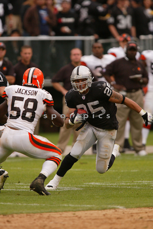 JUSTIN FARGAS,  of the Oakland Raiders, in action during the Raiders game against the Cleveland Browns game on September 23, 2007 in Oakland, CA...Raiders win 26-24.........