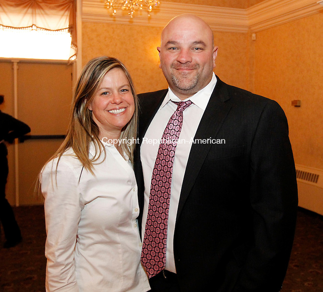 Naugatuck, CT- 07 May 2013-050713CM09-  Social Moments---   Left to right, Tracy Pompei and her husband, Naugatuck High School Athletic Director, Tom Pompei photographed during  the Raymond K. Foley Award Banquet presented by the Naugatuck Parent School Council at the Crystal Room in Naugatuck Tuesday night.  Christopher Massa Republican-American