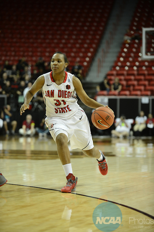 14 MAR 2013: The University of New Mexico takes on San Diego State University during the Mountain West Conference Women's Basketball Tournament held at the Thomas & Mack Center in Las Vegas, NV. Peter Lockley/NCAA Photos
