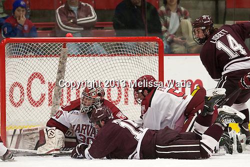 Raphael Girard (Harvard - 30), Darcy Murphy (Colgate - 15), Dan Ford (Harvard - 5), John Lidgett (Colgate - 14) - The Harvard University Crimson defeated the Colgate University Raiders 4-1 (EN) on Friday, February 15, 2013, at the Bright Hockey Center in Cambridge, Massachusetts.