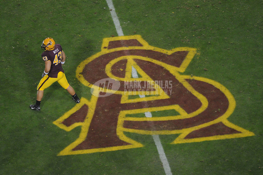 Nov 22, 2007; Tempe, AZ, USA; Arizona State Sun Devils linebacker (43) Anthony Reyes against the Southern California Trojans at Sun Devil Stadium. Mandatory Credit: Mark J. Rebilas-US PRESSWIRE
