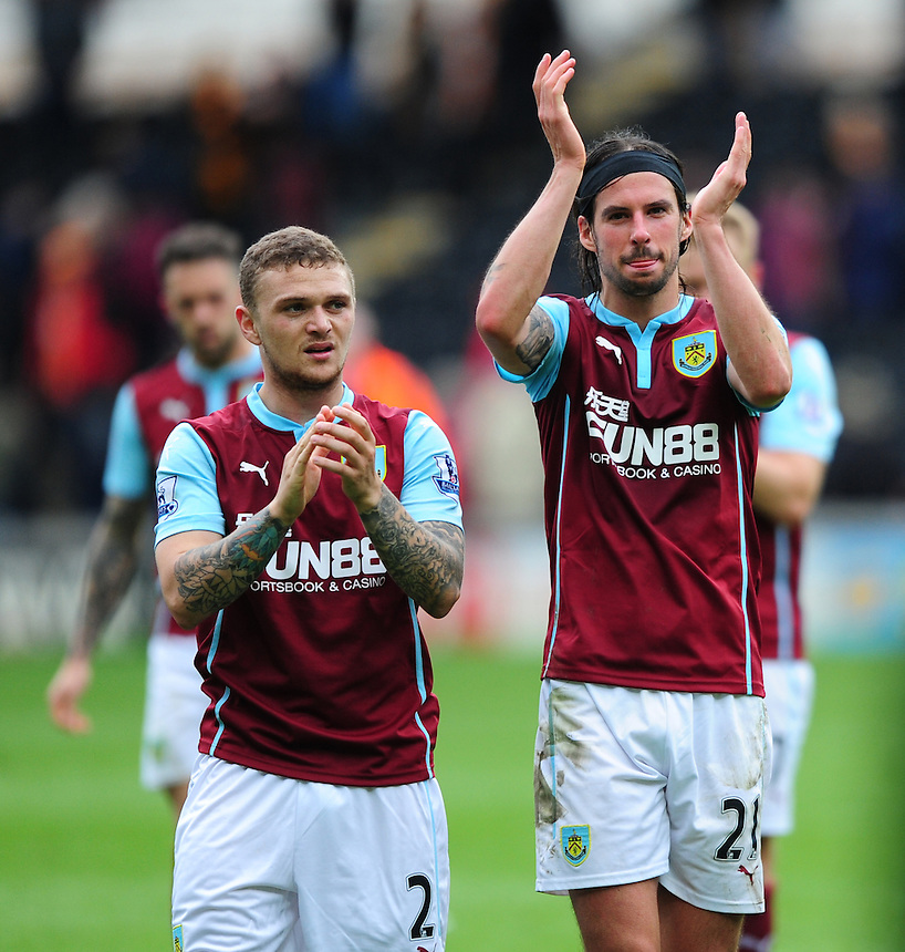 Burnley's Kieran Trippier, left, and Burnley's George Boyd applaud the fans at the end of the game<br /> <br /> Photographer: Chris Vaughan/CameraSport<br /> <br /> Football - Barclays Premiership - Hull City v Burnley - Saturday 9th May 2015 - Kingston Communications Stadium - Hull<br /> <br /> &copy; CameraSport - 43 Linden Ave. Countesthorpe. Leicester. England. LE8 5PG - Tel: +44 (0) 116 277 4147 - admin@camerasport.com - www.camerasport.com