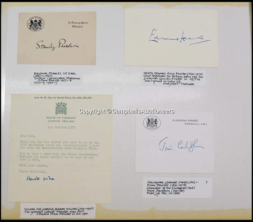 BNPS.co.uk (01202 558833)<br /> Pic: CampbellsAuctioneers/BNPS<br /> <br /> Signatures and letters from British Prime Ministers Stanley Baldwin, Harold Wilson, Edward Heath, James Callaghan.<br /> <br /> A magnificent collection of more than 1,000 signatures and letters from iconic historical figures including the Duke of Wellington, Picasso and Sir Winston Churchill have emerged for auction.<br /> <br /> The collection, which spans 300 years, was amassed by the late animal rights campaigner Jon Evans who meticulously framed or put the signatures in albums.<br /> <br /> Other famous figures in his collection include Charles Dickens, Sir Edmund Hilary, Mahatma Gandhi, Neil Armstrong, Lord Kitchener, Rudyard Kipling and Margaret Thatcher.<br /> <br /> The extensive array of documents is now expected to fetch &pound;30,000 at Campbells Auctioneers tomorrow (Tues).