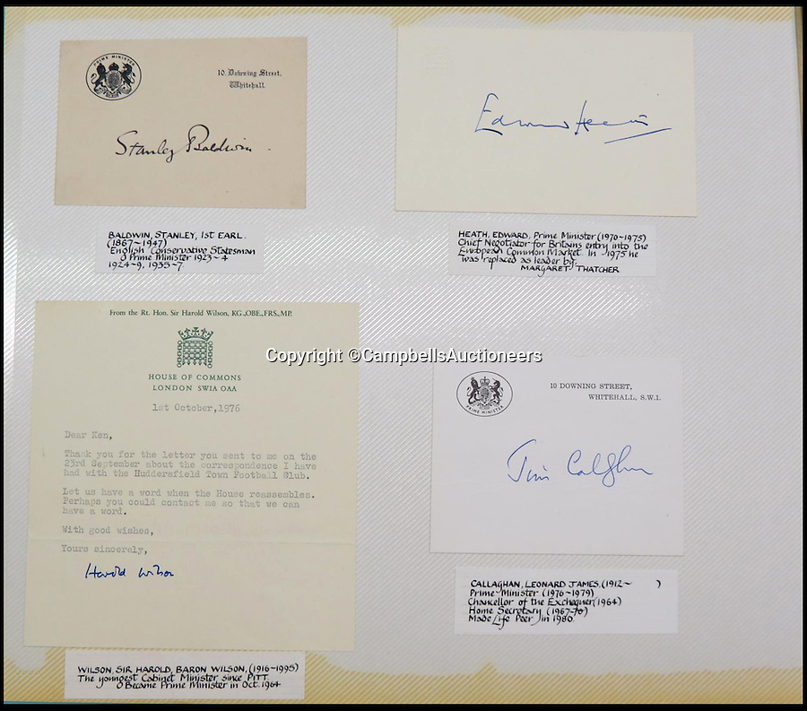 BNPS.co.uk (01202 558833)<br /> Pic: CampbellsAuctioneers/BNPS<br /> <br /> Signatures and letters from British Prime Ministers Stanley Baldwin, Harold Wilson, Edward Heath, James Callaghan.<br /> <br /> A magnificent collection of more than 1,000 signatures and letters from iconic historical figures including the Duke of Wellington, Picasso and Sir Winston Churchill have emerged for auction.<br /> <br /> The collection, which spans 300 years, was amassed by the late animal rights campaigner Jon Evans who meticulously framed or put the signatures in albums.<br /> <br /> Other famous figures in his collection include Charles Dickens, Sir Edmund Hilary, Mahatma Gandhi, Neil Armstrong, Lord Kitchener, Rudyard Kipling and Margaret Thatcher.<br /> <br /> The extensive array of documents is now expected to fetch £30,000 at Campbells Auctioneers tomorrow (Tues).