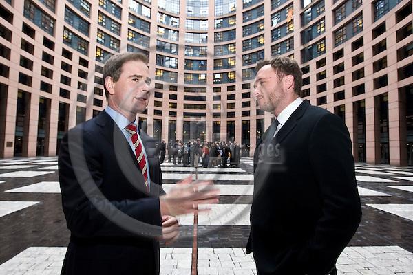 STRASBOURG - FRANCE - 25 OCTOBER 2011 -- Nicolai Wammen (le), Minister for European Affairs of Denmark at the EU-parliament in Strasbourg with MEP Dan Jørgensen (S&D, Socialdemokraterne). -- PHOTO: Juha ROININEN / EUP-IMAGES