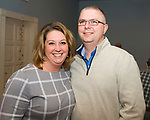 WINSTED, CT-020618JS20-- Winchester School Superintendent Melony Brady-Shanley with her husband Matt Shanley, at the Friends of Main Street's annual Bubbles and Truffles wine, beer and chocolate tasting event held at Crystal Peak Banquet Hall in Winsted. A portion of this years proceeds will go toward playing for the installation of a new playground at the Pearson School. <br /> Jim Shannon Republican-American